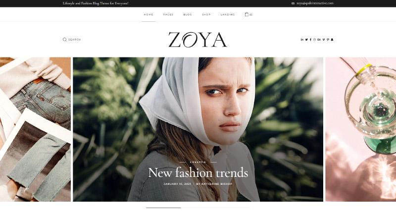 Zoya fashion blog theme