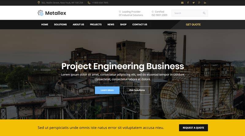 Metallex Engineers WordPress Themes