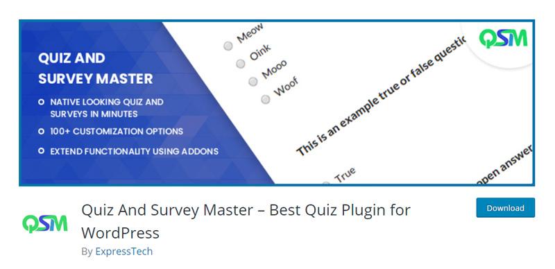 Quiz and Survey Master WordPress plugin
