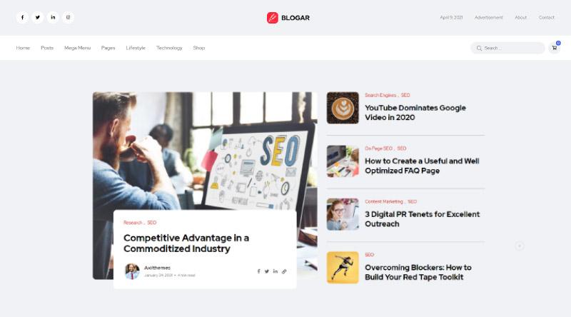 Blogar WordPress Theme