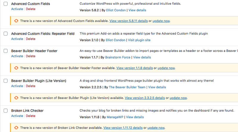 Outdated WordPress core, themes, and plugins