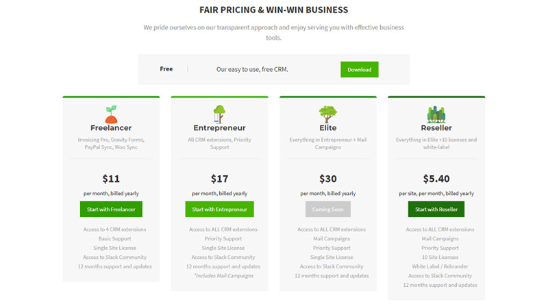 Zero BS CRM pricing