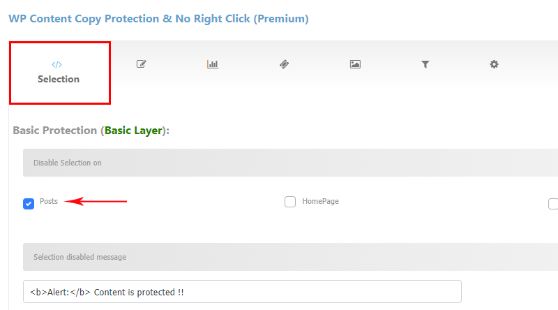 Disable selection on WordPress pages