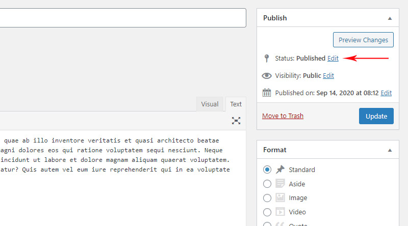 Published post in WordPress Classic editor