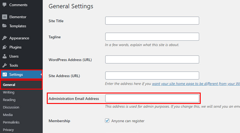 WordPress administrative email address