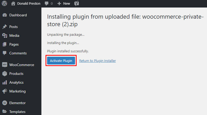 Activate Private Woocommerce Store plugin