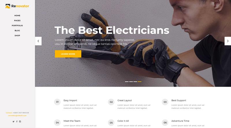 Renovator Electrician WordPress Themes