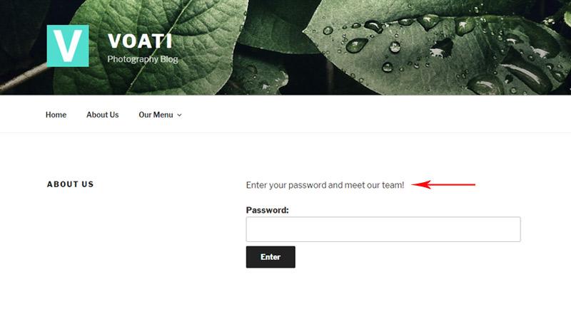 Change password message