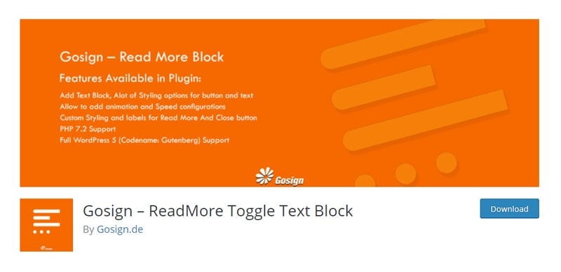 Gosign – ReadMore Toggle Text Block