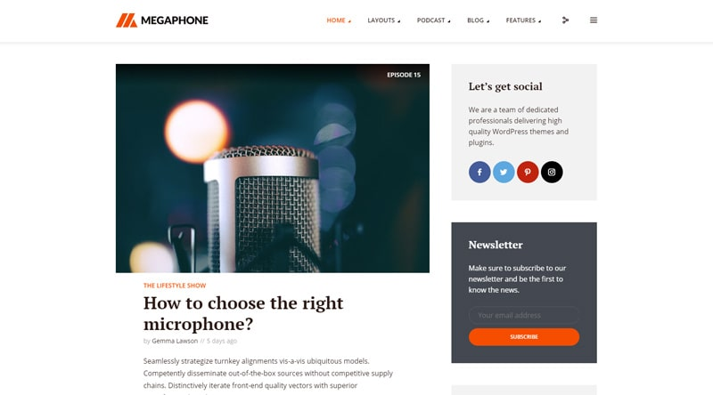 Megaphone Podcast WordPress Theme