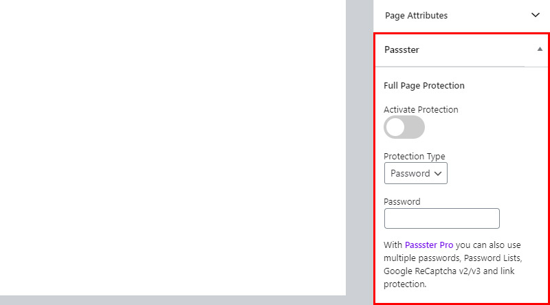 Passster page protection