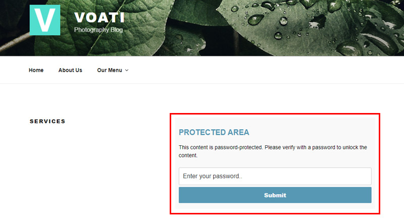 Password protected area