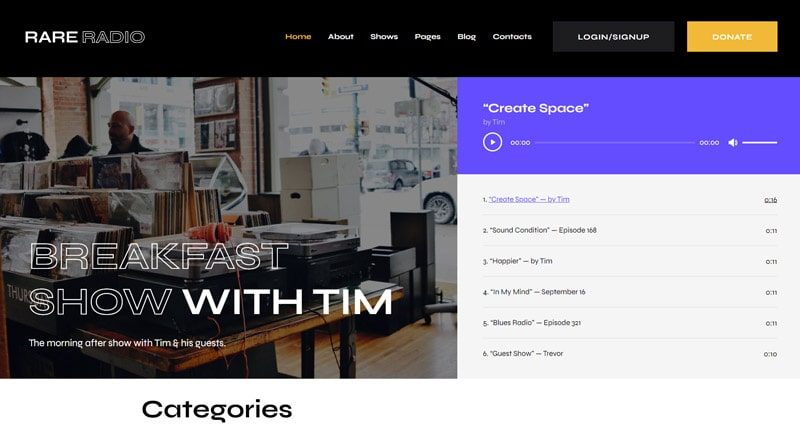 Rare Radio WordPress Theme