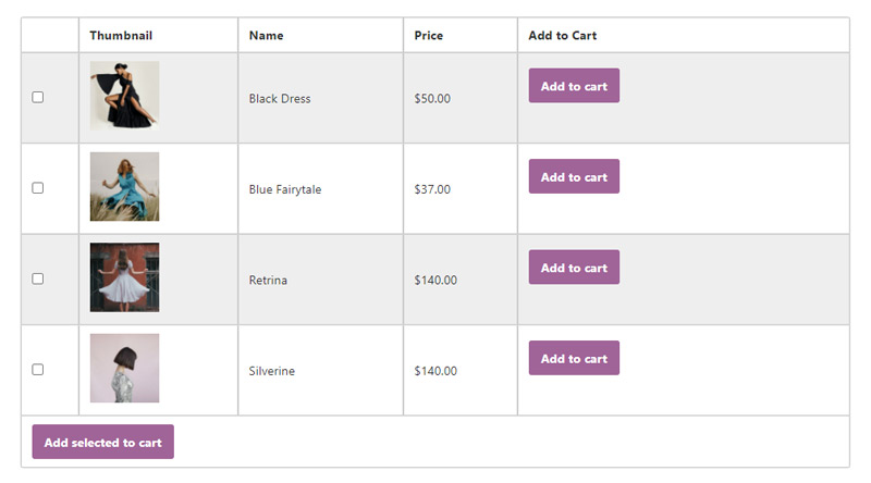 WooCommerce Product Table on page