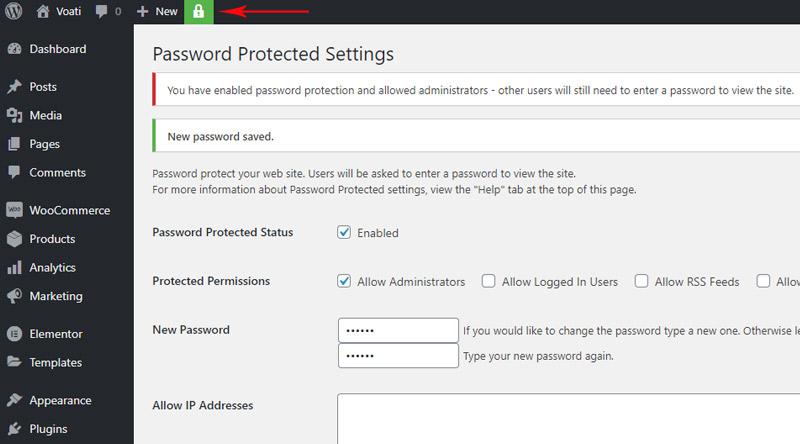 WordPress website password saved