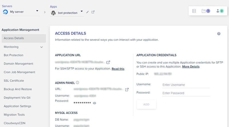 Cloudways Hosting Application Management Panel