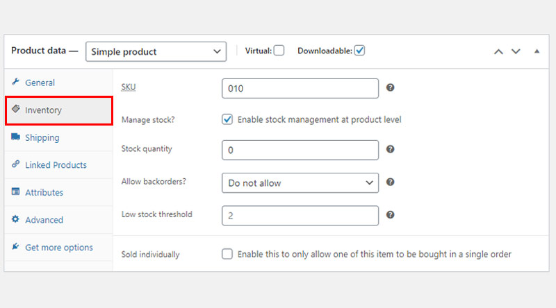 Downloadable product Inventory tab