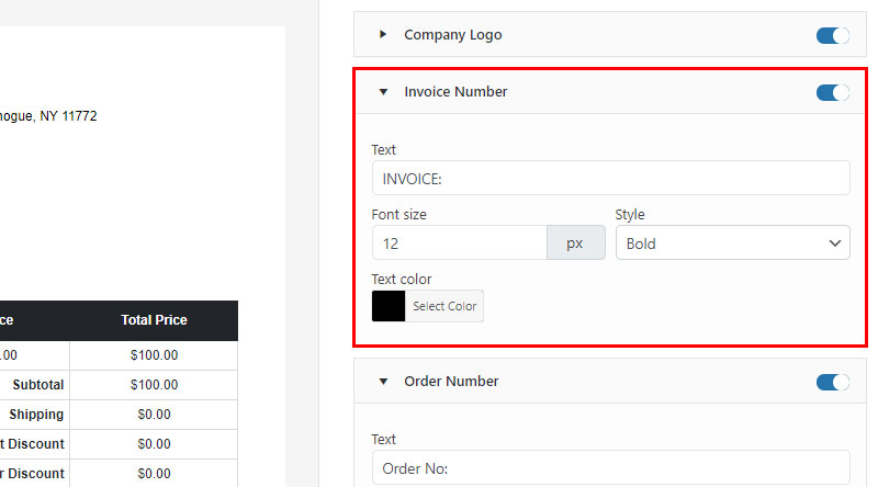 Invoice Customize Settings example