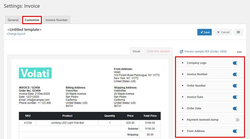 Invoice Customize Settings