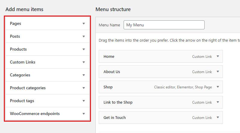 Menus box screen options