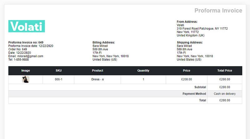 WooCommerce Proforma Invoice example