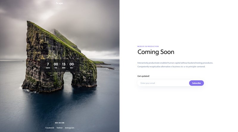 Scape Coming Soon WordPress Themes