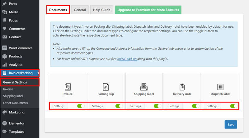 WooCommerce PDF Invoices General settings