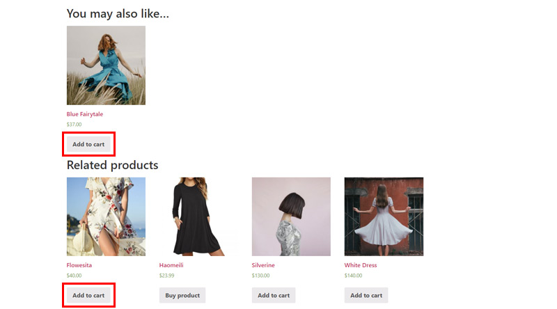 Add to cart button in the related product sections