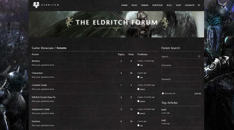 Eldritch Forum WordPress Theme