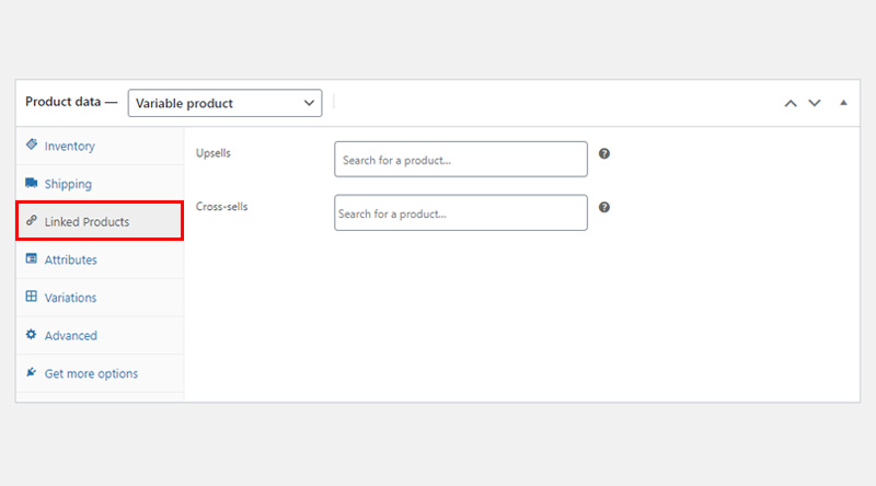 Linked Products tab variable product