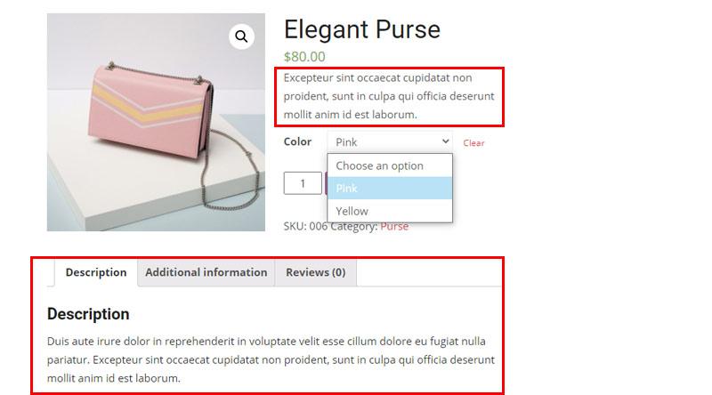Variable product description