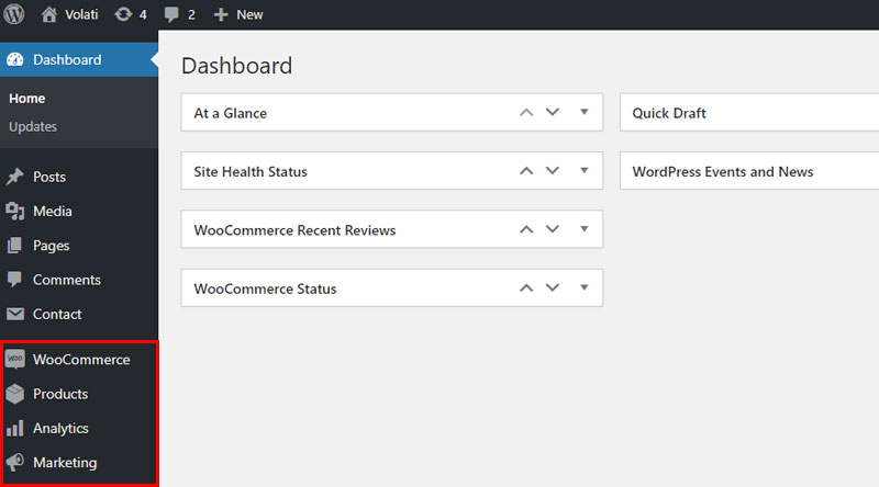 WooCommerce on Dashboard