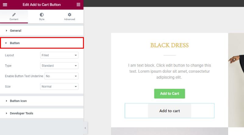 Add to Cart Button widget button settings