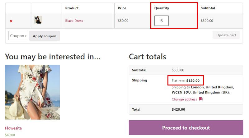 Flat rate per item
