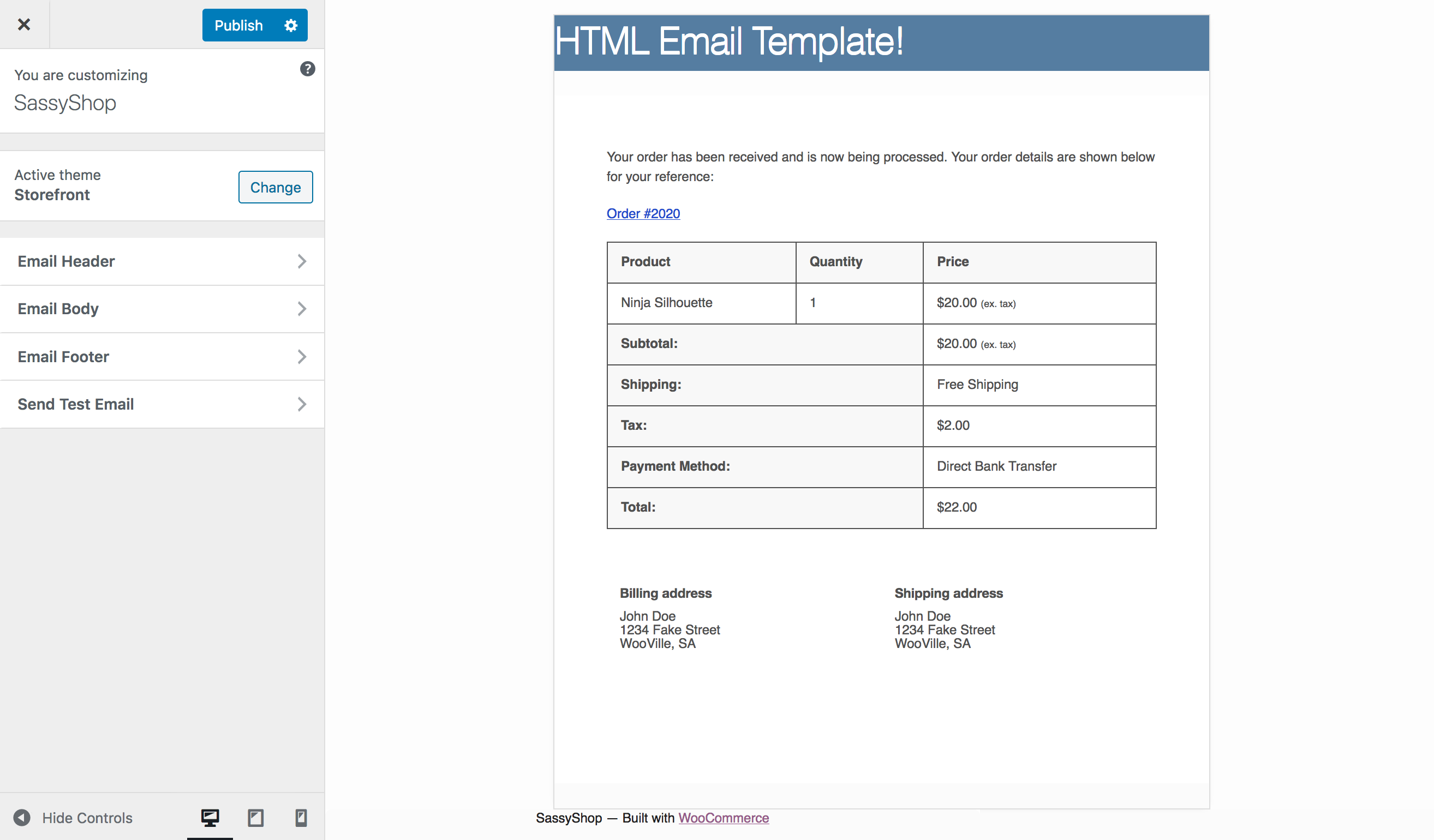 woocommerce email template HTML