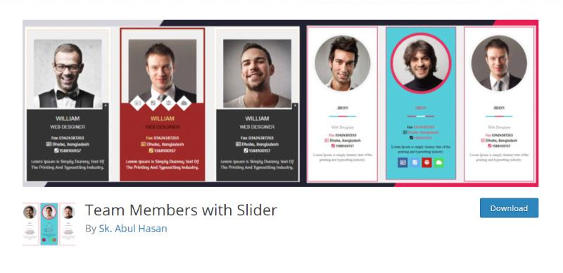 Team Members with Slider