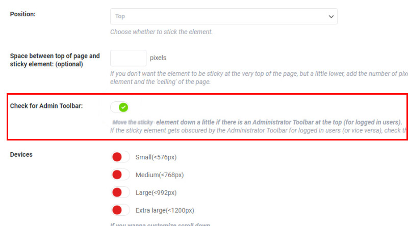 Check for Admin Toolbar