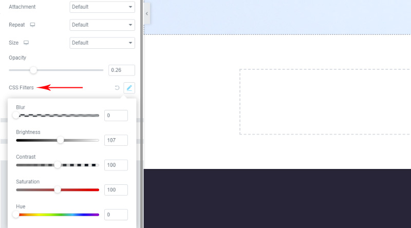 CSS filters elementor