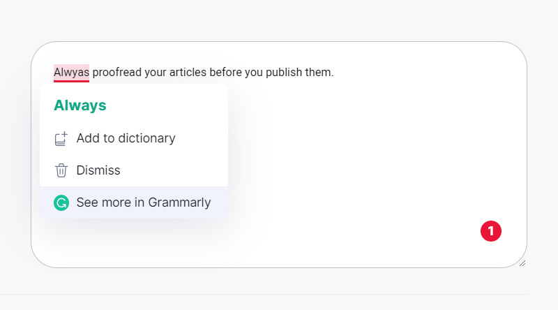 See more in Grammarly option